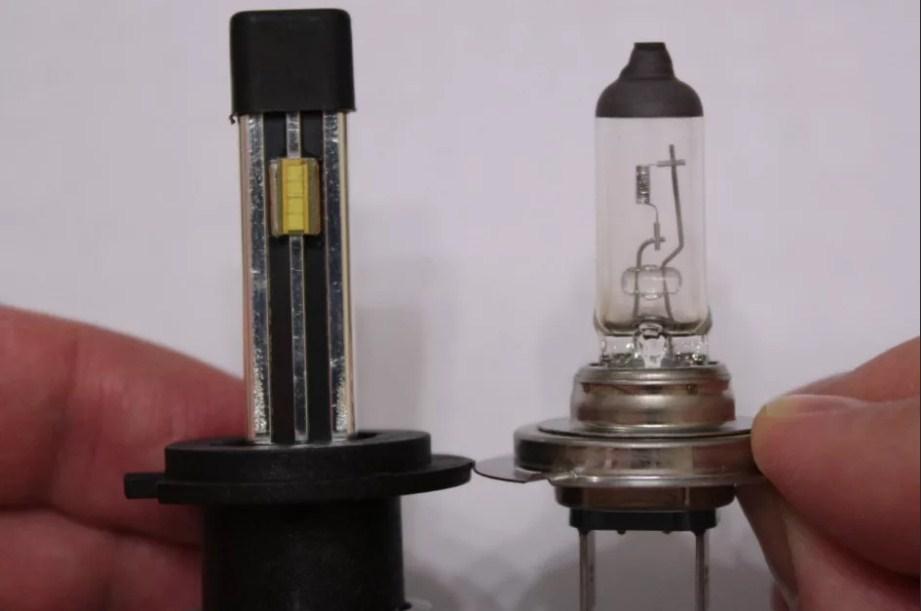 Светодиодная и галогенная лампа, сравнение