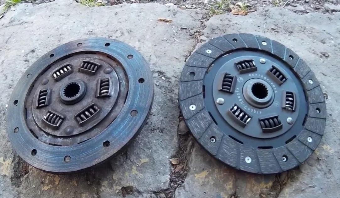 старый и новый диск сцепления, сравнение