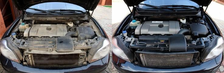 мойка моторного отсека до и после